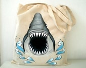 Shark  Tote Bag- Hand Paint  Jaws Shark Bag - humor unisex ,Christmas  gift for him dudes