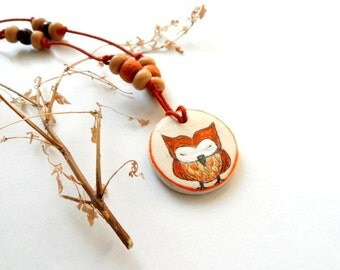 Owl Necklace, Hand Painted  pendant with wooden beads,  gift