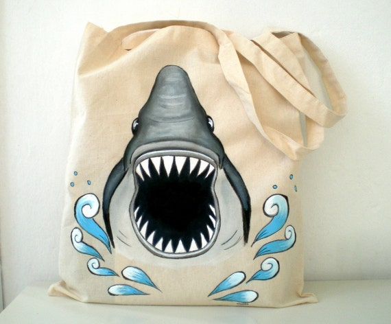 Shark  Tote Bag- Hand Paint  Jaws Shark Bag - humor unisex ,Christmas  gift for him dudes