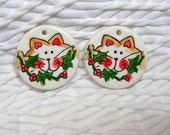 2 Pc. Yellow Cat With Holly Clay Disks Charms Earring Blanks Original Handmade Supplies