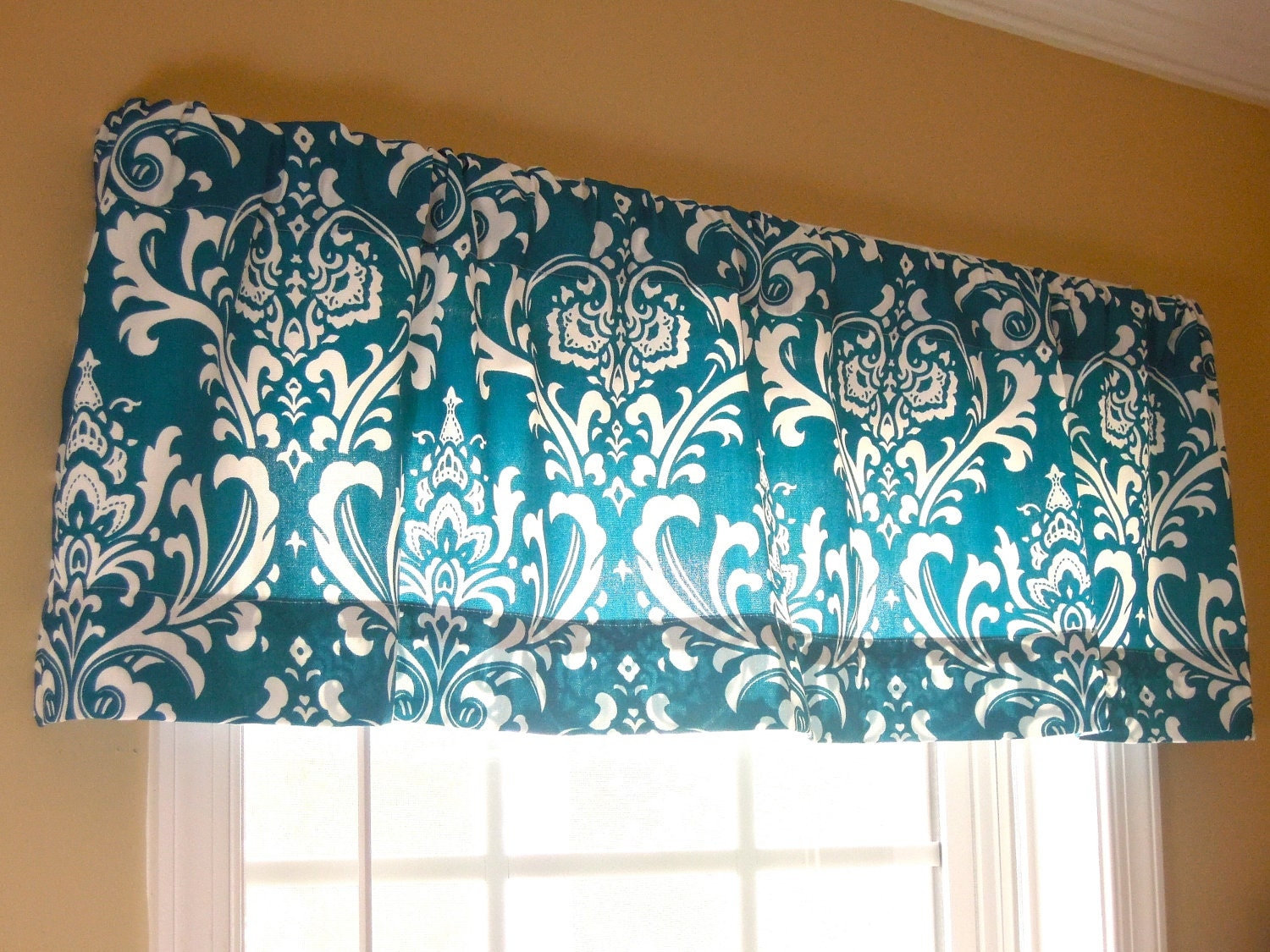 50x15 Window Valance Damask Modern Contemporary Teal