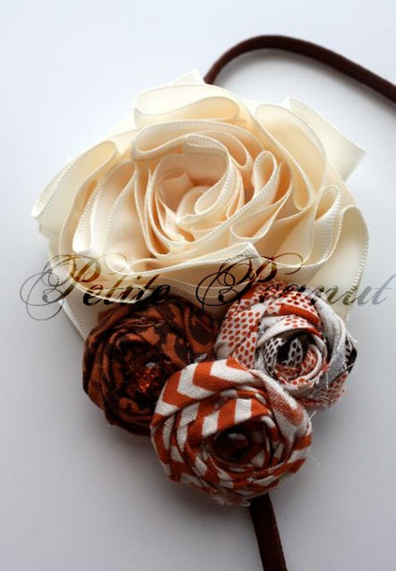 Vintage Couture Shabby Chic Satin Flower headband- Harvest- Brown Orange Ivory - CUSTOM ORDER - Photography prop