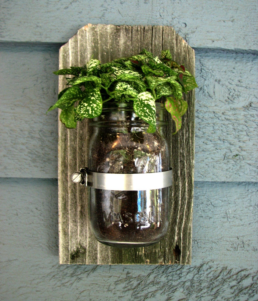 Mason Jar Wall Hanging Planter Organizer Decor