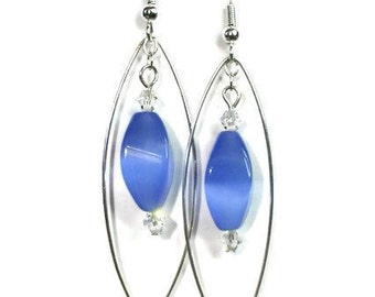 Cats Eye Marquise Dangle Earrings