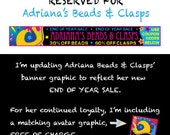 Reserved for Adriana's Beads & Clasps Customized Promotional Etsy Banner for Store Closing 70% off Sale on Beads Clasps