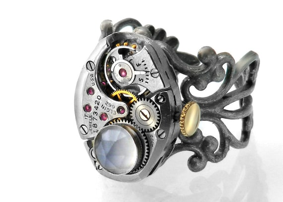 Steampunk Ring, Palest Lavender Blue Chalcedony & Vintage Watch Movement - Adjustable Ring