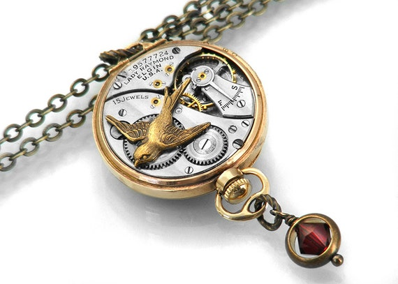Steampunk Necklace, Swallow & Antique Elgin Pocket Watch Gold Filled - Long Chain Necklace