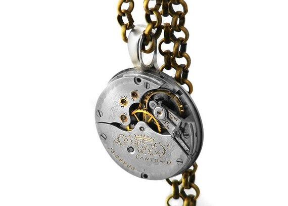 Steampunk Man Necklace, 1881 Canton Antique Pocket Watch - Long Chain Necklace