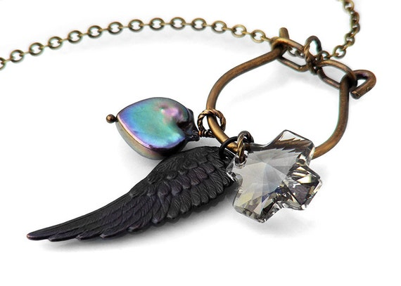 Steampunk Necklace Charm Holder - Black Pearl & Angel Wing Memory Keeper Clip - Long Chain Necklace
