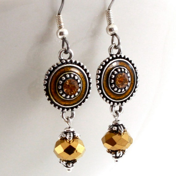 Dangling Earrings, Antique Silver with Gold Crystals, Bohemian, Adsila Collection, Free Shipping