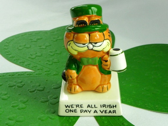 Vintage Garfield Enesco Ceramic Figurine. We're All Irish One Day A Year.