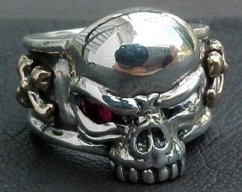 Red Eye Skull cross ring wth rubies