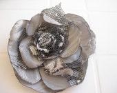 Grey Fabric Flower Brooch, wedding brooch pin, Satin Flower Accessory for Women