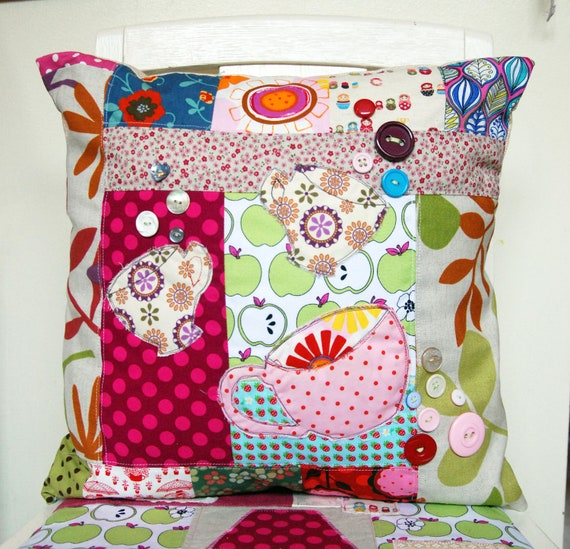 SALE X Large Patchwork Pillow / Cushion with Teacups and a Big Bright Coffee Cup Applique Detail and Pretty Buttons.