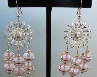 Pale Pink Glass Flower Chandelier Earrings
