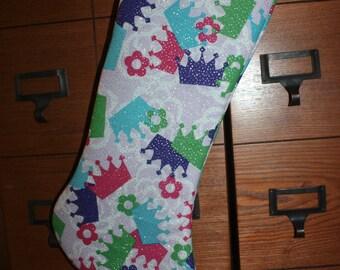 Princess Sparkle Crown and Flower Handmade Christmas Stocking