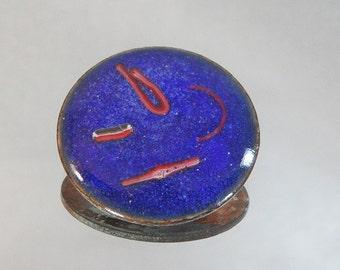 Vintage Brooch. Copper. Abstract Cobalt Blue Enamel.