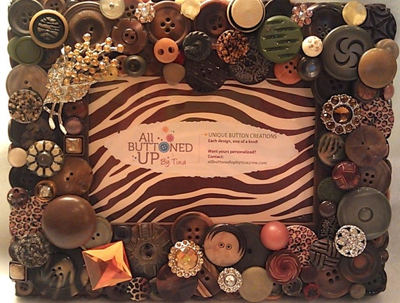 "Brown Earth-toned Button Picture Frame in Browns, Blacks, Olives and Amber for 4""x6"" photo"