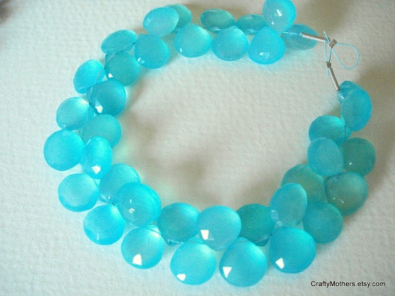 SALE - Apatite Blue Chalcedony Faceted Heart Briolettes Trio