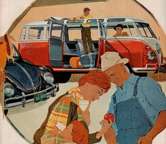 vintage red vogswagen bus 1958 advertisement