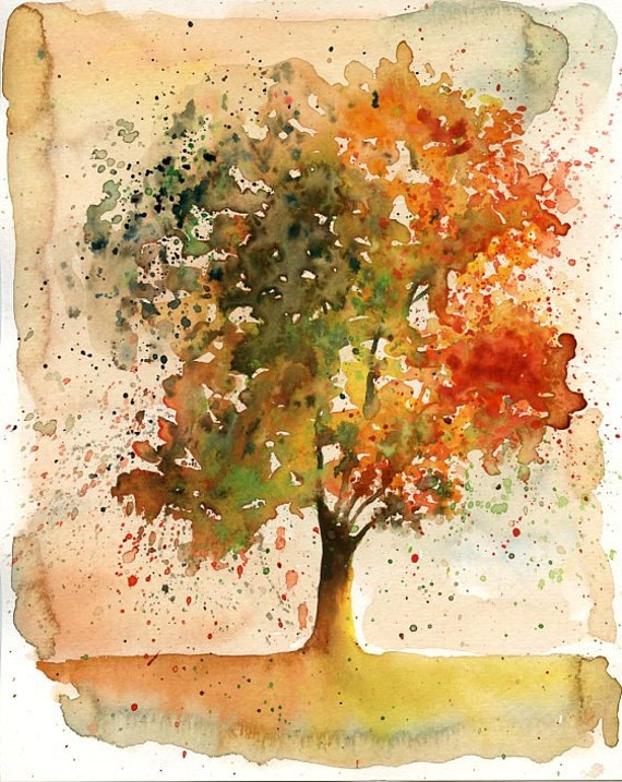Autumn Tree Original watercolor painting 10x8 inch