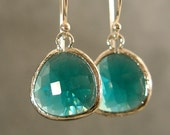 Teal Green Glass Silver Bridesmaids Earrings, Wedding Earrings, Silver Earrings, Bridesmaid Gifts (3821W)