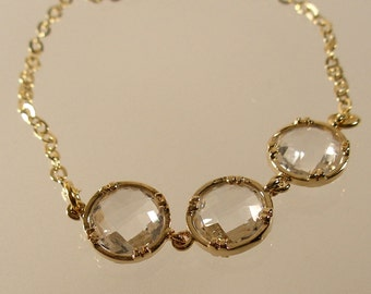 Crystal Faceted Circle Glass Gold Bracelet, Wedding Bracelet, Bridesmaid bracelet, Wedding Party, Bridesmaid Gift (4101w)
