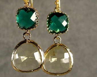 Teal and Jonquil Glass Gold Bridesmaid Earrings, Bridesmaid Jewelry, Wedding Earrings (993-3243wn)