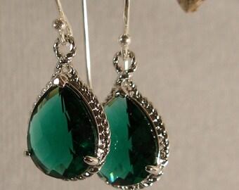 Teal Green Glass Braid Silver Bridesmaid Earrings, Wedding Earrings, Bridesmaid Jewelry, Silver Earrings, Bridal Earrings (3407)
