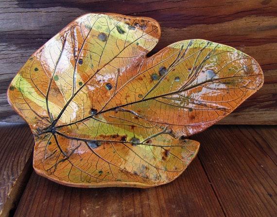 Leaf Dish, Unique Stoneware Art