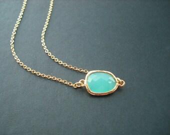 Aqua Blue bezel necklace - 16K gold plated, Bridesmaids gift, Wedding Gift
