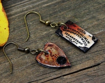 Mini Classic Ouija Board Dangle Earrings Wiccan Pagan Goth