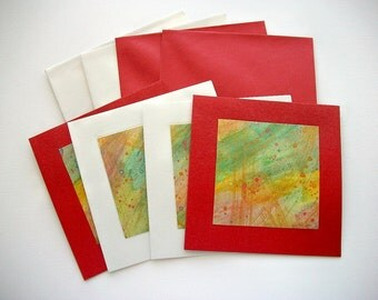 Greetings Cards Set Handpainted Watercolors on Metallic Pearlescent Cardstock 4 pcs