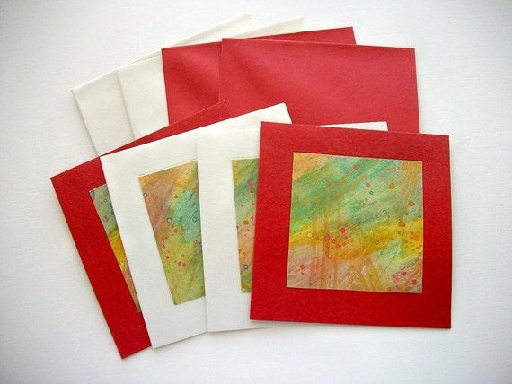 Greetings Cards Set Handpainted Watercolors on Metallic Pearlescent Cardstock 4 pcs