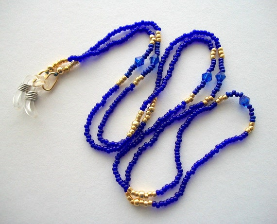 Blue Eyeglass Lanyard Beaded Holder with Lapis Lazuli Blue Seed Beads and Blue Crystal Bicones