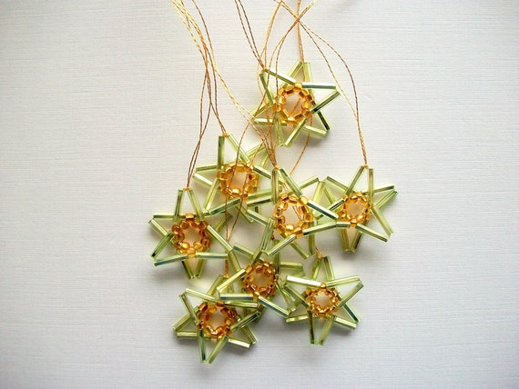 Green Star Ornaments Hand Beaded 8 pieces
