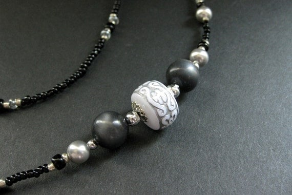 Eyeglass Chain Beaded in Gray, Black and Silver - Mist and Mystery. Handmade.