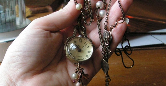 Clock Necklace Victorian globe necklace with beaded links in silver finish