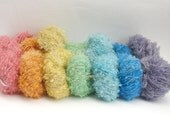 wool  boucle Yarn hand dyed 100 % wool -  perfect for doll hair and knitting. 50 gramms
