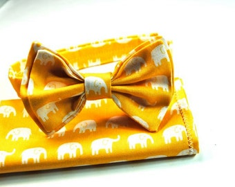 Yellow Elephant Bow Ties -  Boys Bow Ties Boys  Custom Bow Ties Cotton Bow Ties, Freestyle Bow Tie