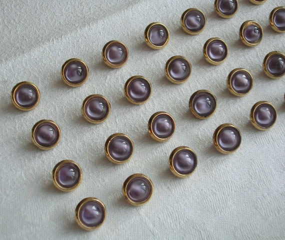 VINTAGE - 40 very nice lavender glass buttons (13.5 mm) with fine golden edges