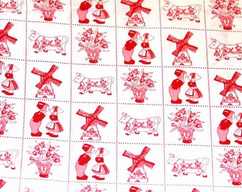 Holland red cotton fabric - Dutch print - Fat eight