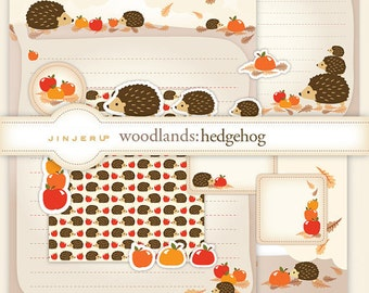 Woodlands Hedgehog Stationery - Printable PDF