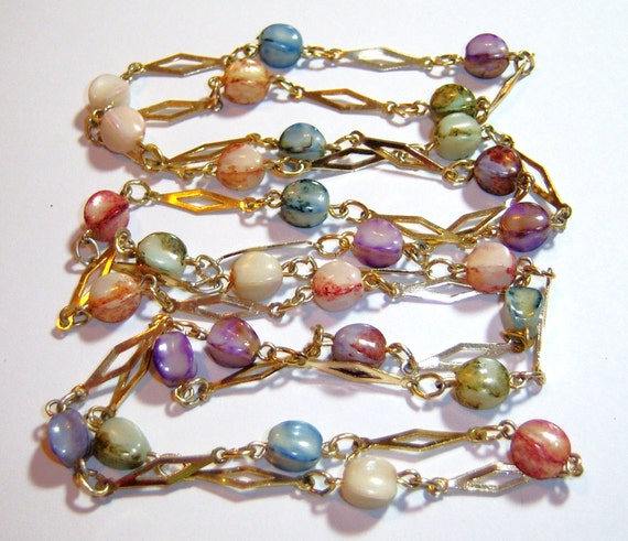 vintage pastel and gold tone chain long necklace