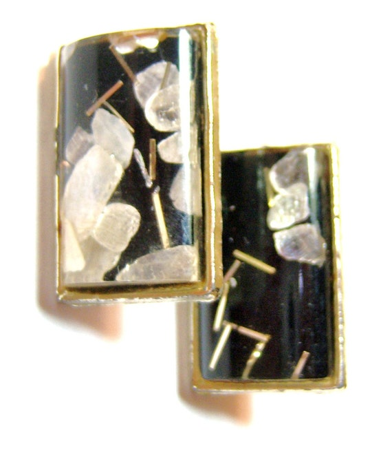 vintage black and silver tone rectangle oriental style clip on earrings