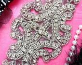 """XR25 Black Backing Rhinestone Applique Crystal Clear Silver Beaded 6"""" (XR25-bkcr)"""