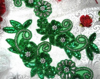 0183 Green & Silver Mirror Pair Sequin Beaded Appliques