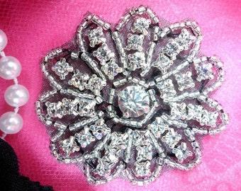 "JB57 Black Floral Glass Silver Beaded Crystal Rhinestone Applique 2"" (JB57-bkcr)"