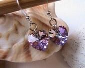 Vitrail Swarovski Heart Crystal Earrings, Crystal Heart Earrings, Swarovski Crystal Earrings, Bridal Jewelry, Bridesmaids, Purple, Lilac