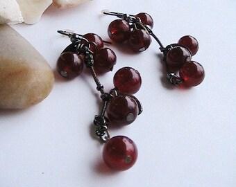 Cluster of Red Grapes Earrings - Burgundy  Brown Earrings, Long Dangle Earrings,